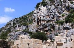 Myra Necropolis Turkiet Arkivbilder