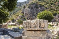 Myra Rock Tombs, Demre, die Türkei Lizenzfreie Stockbilder