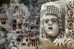 Myra stone mask Stock Photography
