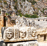 In  myra turkey europe old roman necropolis and indigenous tomb Royalty Free Stock Photography
