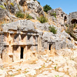 In  myra turkey europe old roman necropolis and indigenous tomb Royalty Free Stock Photos