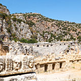 In  myra turkey europe old roman necropolis and indigenous tomb. Myra    in turkey europe   old roman necropolis and indigenous tomb stone Royalty Free Stock Photography