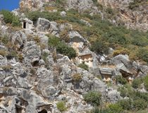 Myra  was an ancient Greek town in Lycia.The tomb carved into Royalty Free Stock Photo