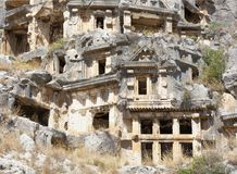 Myra  was an ancient Greek town in Lycia.The tomb carved into t Royalty Free Stock Photos