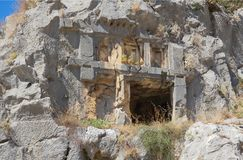 Myra  was an ancient Greek town in Lycia.The tomb carved into t Stock Images