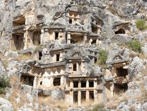 Myra  was an ancient Greek town in Lycia.The tomb carved into t Stock Photo