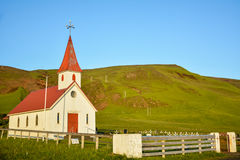 Myrdal Church of Vik village, Iceland on a sunny summer day Royalty Free Stock Image
