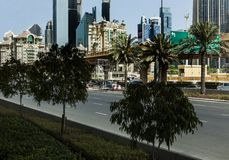 Down town Dubai. The myriad of architecturally designed buildings along the main road in Dubai Stock Image