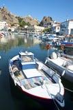 Myrina Hafen Limnos Greec Stockfoto