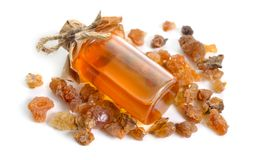 Free Myrrh Essential Oil. Isolated On White Background Stock Photo - 141015970