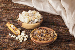 Myrrh and frankincense. Is an aromatic resin, used for religious rites, incense and perfumes Stock Photos