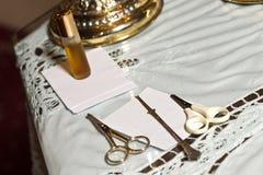 Myrrhe et ciseaux de baptême photographie stock libre de droits