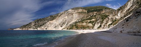 Myrthos beach, Kefalonia. Scenic view of Myrtos beach on the Greek island of Kefalonia Royalty Free Stock Images