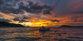 Myrties au coucher du soleil, Kalymnos Grèce Photos libres de droits