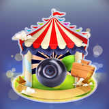 Myrtilles d'affiche de confiture de fruit illustration stock