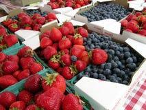 Myrtilles et fraises Photographie stock