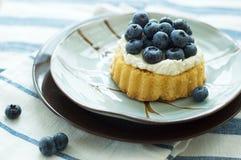 Myrtilles et tarte de crème mini Photographie stock libre de droits
