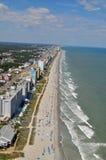 Myrtle Beach海岸线-鸟瞰图 免版税库存照片