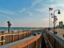 Myrtle Beach Boardwalk bei Sonnenuntergang stockfotografie