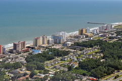 Myrtle Beach Coastline. Of hotels and pier Stock Image