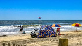 Myrtle Beach family on beachfront Myrtle Beach South Carolina.  royalty free stock images