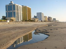 Myrtle Beach. High rise hotels along the beach front reflecting in a pool of water Stock Photos