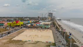 MYRTLE BEACH, SC - APRIL 2018: Panoramic aerial skyline and coastline on a cloudy afternoon. This is a famous tourist destination. In summer royalty free stock photos