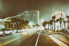 MYRTLE BEACH, SC - APRIL 3, 2018: Tourists along the streets at. Night. Myrtle Beach attracts more than 15 million people annually royalty free stock photo
