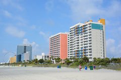 Myrtle Beach. SOUTH CAROLINA JUNE 29 2016:  is a coastal city on the east coast center of a large and continuous stretch of beach known as the Grand Strand in stock photo