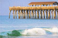 Early Morning Fishing at Myrtle Beach State Park Pier Stock Image