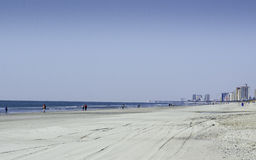 Myrtle Beach In The Winter. Was take nudging March 2014 looking south at about mid-way in the city on the beach stock photography