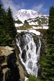 Myrtle Falls and Mount Rainier. Mount Rainier and Myrtle Falls - Mount Rainier National Park Stock Photo