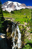 Myrtle Falls and Mount Rainier Stock Photos