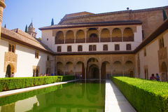 Myrtles and Comares tower in Alhambra Royalty Free Stock Photos
