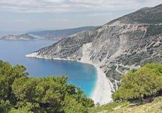 Myrtos海滩凯法利尼亚岛海岛,希腊 免版税库存照片