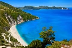 Myrtos海滩,凯法利尼亚岛 免版税库存照片