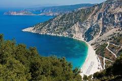 Myrtos海滩, Kefalonia全景  免版税库存图片