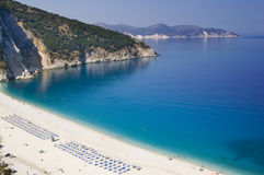 Myrtos Beach Kefalonia. View down to the azure blue water of Myrtos Beach in Kefalonia, Greece Royalty Free Stock Images