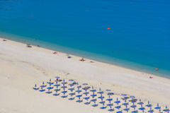 Myrtos Beach Kefalonia. View down to the azure blue water of Myrtos Beach in Kefalonia, Greece Stock Images