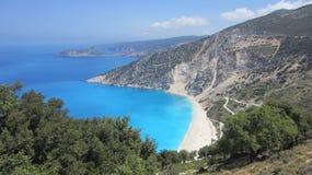 Myrtos Beach, Kefalonia, Greece,. Myrtos beach, northwest Kefalonia island, Greece, Ionian Sea. filming location for Captain Corelli's Mandolin Royalty Free Stock Photo