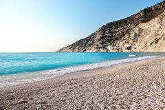 Myrtos beach at kefalonia island in greece Stock Image
