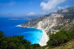 Myrtos beach at Kefalonia island, Greece. Aerial view of Myrtos pebble beach at Kefalonia island, Greece Stock Image
