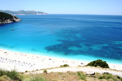 Myrtos beach, sea landscape stock photo