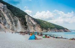 Myrtos Plażowe Ionian wyspy Obrazy Stock