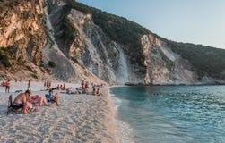Myrtos Plażowe Ionian wyspy Zdjęcia Royalty Free