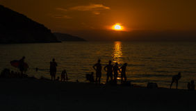 Myrtos plaży zmierzchu Ionian wyspy Obrazy Stock