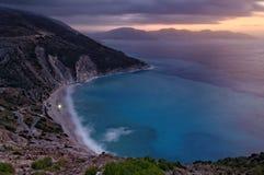 Myrtos strand arkivfoton