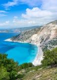Myrtos Strand lizenzfreie stockfotos