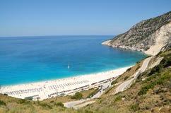 Myrtos strand av den Kefalonia ön Arkivbild