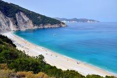 Myrtos strand, Grekland Royaltyfria Foton